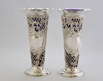 Victorian pierced Vases by William Comyns  1894