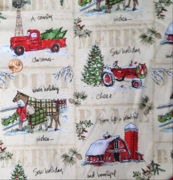 A Country Christmas Tractor Barn Horse Farm Fabric 100
