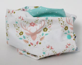 Toddler Infinity Scarf, Baby Scarf, Floral deer, Pink, Aqua dots, Snap on Infant Round Scarf, Cute Baby Girl Shower Gift, Children, Spring