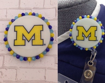 UofM/University of Michigan Badge Reel Cover/Velcro Backed and Interchangeable