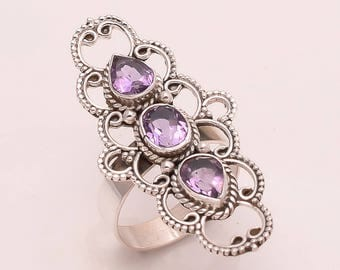 925 Solid Sterling Silver Amethyst Ring