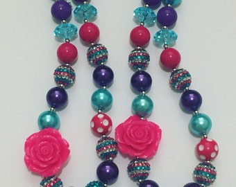 Rose bling chunky necklace