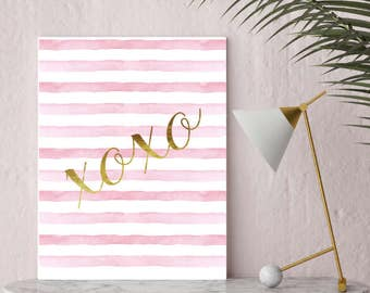Xoxo, pink, gold, watercolor, Gift for, Typography Print, Home Decor, Wall Art, Paris, chic, hugs and kisses, love, bedroom printable