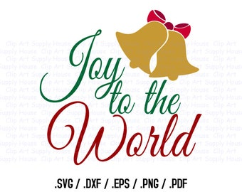 Joy to the World Clipart, Winter Christmas Wall Art, Joy SVG File for Vinyl Cutters, Screen Printing, Silhouette, Die Cut Machine - CA401