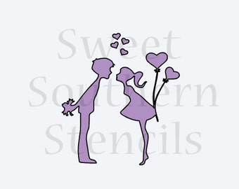 Valentine Couple Cookie Stencil
