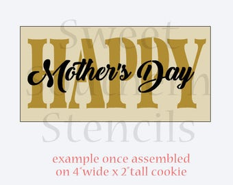 Happy Mother's Day 2 step Cookie Stencil