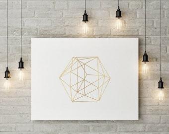 Minimalist Geometric Art, Gold Decor, Abstract Linear Print, Wall Decor, Modern Minimalist Poster, Wall Art