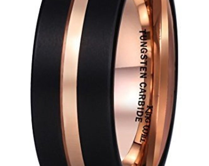 Personalised 8 mm Rose Gold Inlay Black Tungsten Carbide Groove Brushed Flat Cut Edge - Comfort fit- Engraveable
