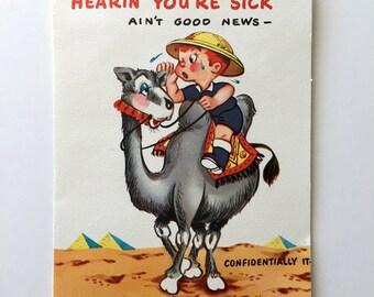 Vintage 1950s Funny Get Well Card Humorous Vintage Card Unused Vintage Pop Out 3D Card Nova Laugh Card