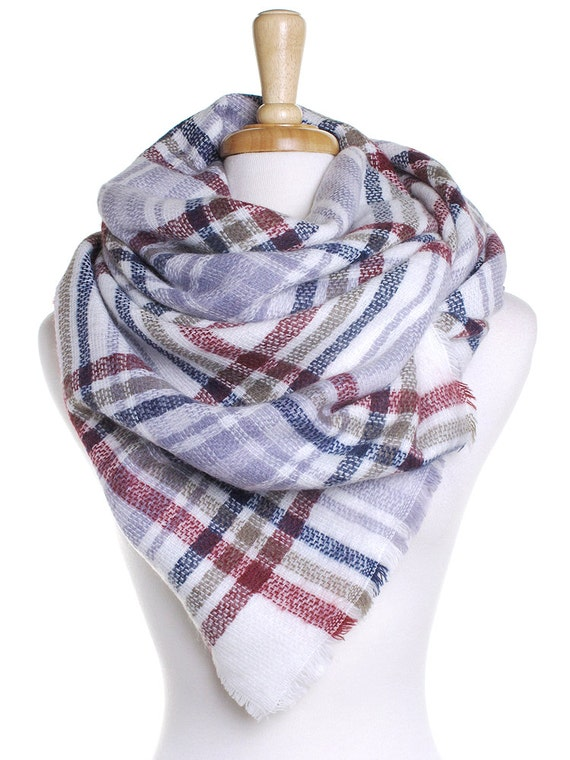 Knitting Pattern Tartan Scarf : White Plaid Blanket Scarf / Knit Checked Scarf / Autumn Scarf