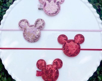 Gold, light pink, red, black, or light pink Sequin Minnie Mouse clip or headband