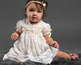 Christening Dress, Louisa Baptism Dress, Romper Dress