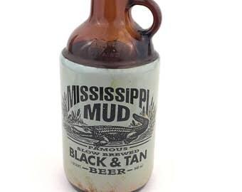 Mississippi Mud Famous Slowed Brewed Beer Jug, Mississippi Mud Black & Tan 1 Quart Beer Bottle, Collectible Beer Bottle, Amber Beer Bottle