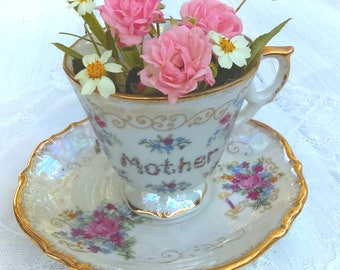 Vintage Japanese Lusterware Tea Cup for Mother: Made by Ardco, Original Label, Numbered C-3083