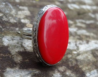 Sterling silver Natural Red Coral Ring Size 9.5 - Natural Stone Ring - ring size 9 10 - Gemstone Ring - Red Coral ring - Boho Chic Ring