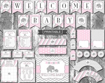 Pink Gray Girl Elephant Baby Shower Decorations and Games Package Digital Printable Elephant Theme Shower PDFs Instant Download-Welcome Baby