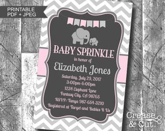 Light Pink Charcoal Gray Elephant Girl Baby Sprinkle Personalized Digital Printable Invitation PDF and JPEG 4x6 or 5x7 Baby Elephant Invite