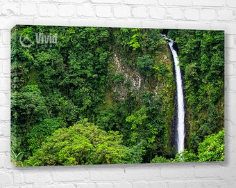 Canvas wall art, green wall decor, waterfall art print, rain forest photography, triptych wall decor, green jungle, living room, bedroom