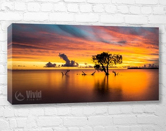 Pacific ocean sunset art, mangrove tree, orange black art, 12x24 wall canvas, 5 panel canvas, 60 inches wide, 5 feet wide, office wall decor
