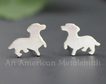 Sterling Silver Dachshund Earrings, Dachshund Jewelry, Dachshund Gift, Doxie Earrings, Weiner Dog Earrings, Weiner Dog Jewelry, Gifts, Lover
