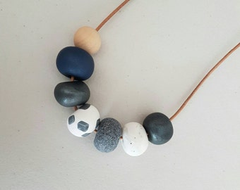 Blue, silver and white clay bead necklace, polymer clay jewellery, clay necklace, gift for her, birthday gift