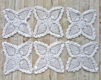 White Crochet Doilies Set, 6 Crochet coasters, Crochet Cup Pad, Serving Napking, White Crochet Doily, Kitchen Decoration, Table decoration,