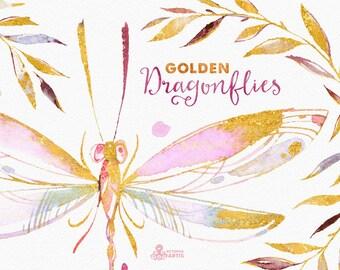 Golden Dragonflies. Watercolor hand painted clipart, wreaths, laurels, diy elements, invitation, wedding, logo, floral, romantic