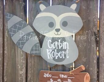Hospital Door Hanger / raccoon / Woodland Theme / Birth Announcement / Wreath / Nursery / Decor / Baby Shower / Baby Boy / Baby Girl