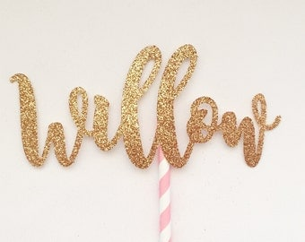 Custom Name or Word Rose Gold Glitter Cake Topper - Birthday, Baby Shower, Engagement, Wedding, Bridal Shower