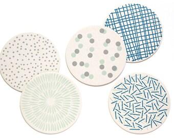 Letterpress Coaster Set | Blue Patterns | Set of 10