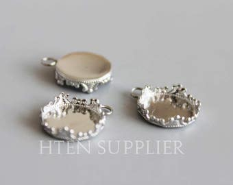 20pcs Crown Stainless Steel pendant Bezel - Pendant Blanks -  Trays Settings - Pendant Trays - hypoallergic Cups - Pendant Base