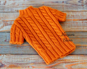 Orange knitted sweater for bjd MSD 1/4 5,5cm