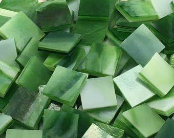 Mixed Greens Stained Glass Mosaic Tiles