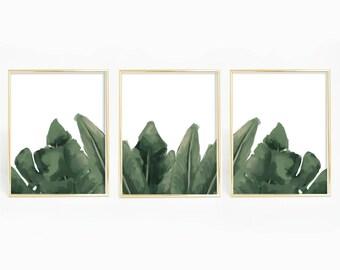 Palm Leaf Art, Set of 3, Triptych Print, Tropical Print, Palm Art Printable, Palm Leaves Decor, Minimalist Print, Modern Wall Decor Wall Art