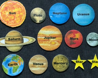 Solar System Planets Felt Board Set #2 // Children //  Space  //  Flannel Board // Preschool // Planets // Stars