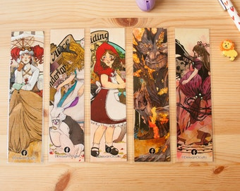 Bookmarks set, fantasy, book, reading, alice in wonderland, geisha, steampunk, red riding hood, magic