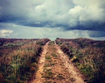 Dramatic View on Empty path on Darwen Moors in Cloudy Day