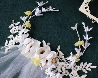 wedding flowers fascinator,wedding dress, hair veil