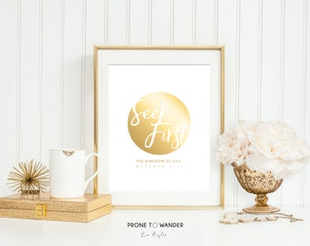 SEEK FIRST - Matthew 6:33 in gold foil - GF12