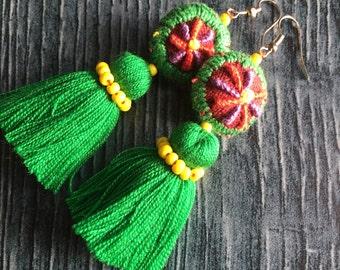 Green tassel earrings, long tassel earrings, colorful tassel earring, long colorful earring