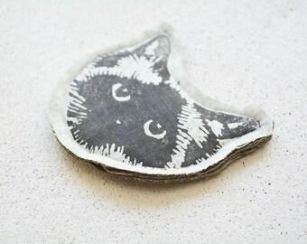 Cat Face Pin Brooch. Birman Ragdoll. Pastel Green Fabric. Upcycled textiles.