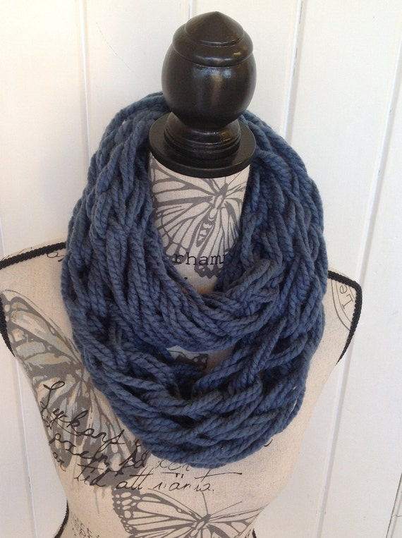 items similar to sale blue knitted scarf arm knitted