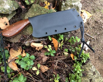 Custom hand forged cleaver with Paulope grips and Kydex sheath