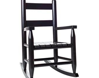 Black Wooden Childs Rocking Chair - Heirloom Children's Rocker
