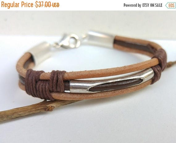 Free Shipping - Brown Leather Bracelet, Mens Brown Bracelet, Leather Cord Bracelet, Brown Cord Wristband, Mens Cuff Bracelet, Men Statement