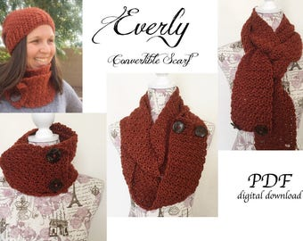 Everly Convertible Scarf Crochet Pattern / Infinity Scarf Crochet Pattern / Cowl Crochet Pattern