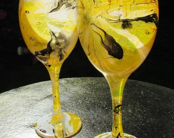 Lemons And Cream Marbled Wine Glasses (pair)