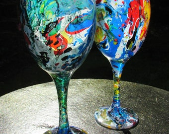 Multicolour Marble Wash Wine Glasses (pair)