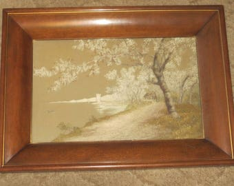 Antique Hand Stitched Japanese Silk Landscape In Original Frame, Marked With Metal Label