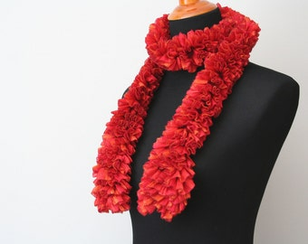 Ruffle Scarf, Bright Red; Crocheted Scarf, Fashion Scarf, Handmade Scarf, Red Ruffled Scarf, Red Crochet Scarf, Gift for Her